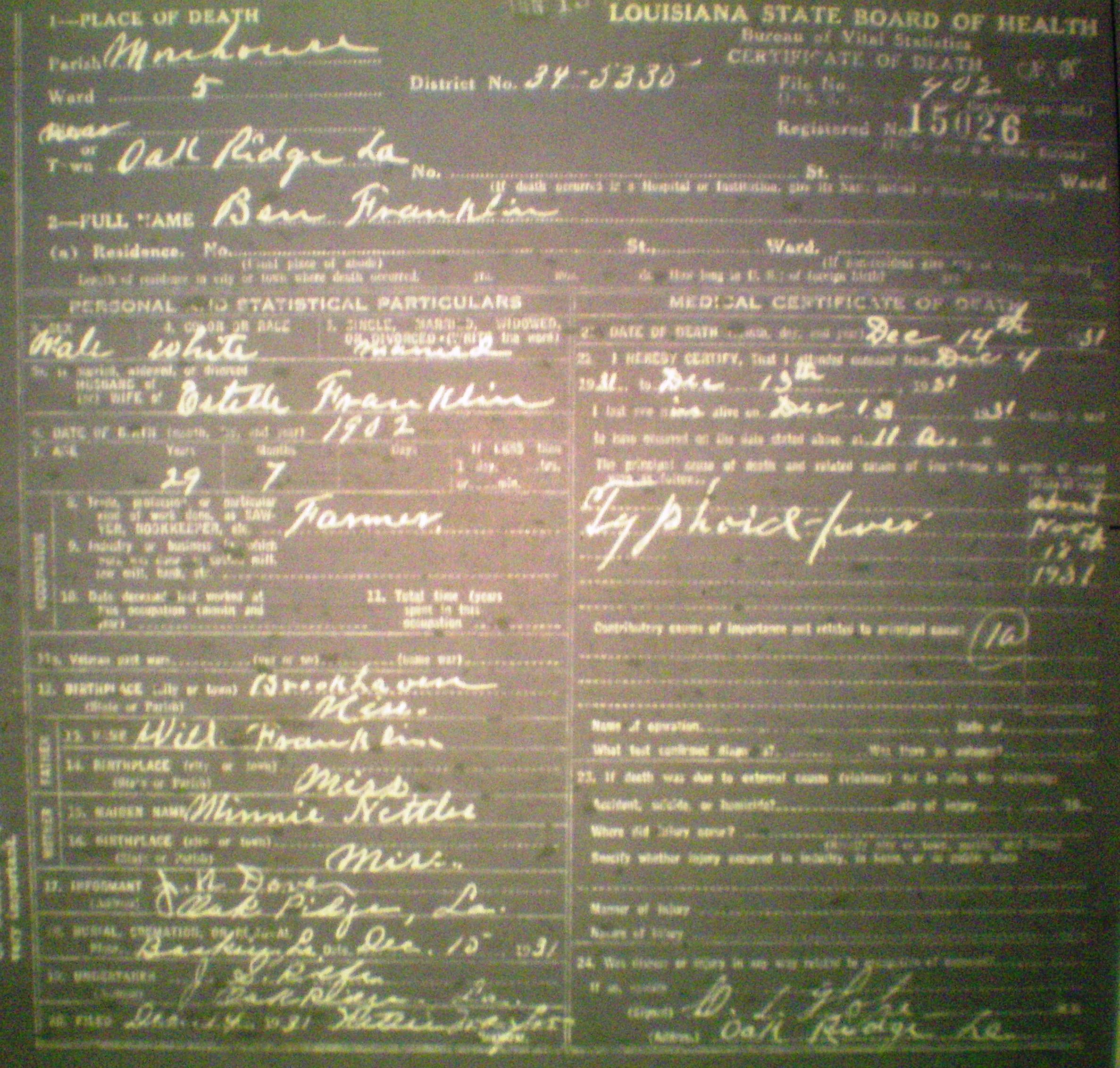 Index Of Franklingeneticsresearchlouisianala Death Certificates