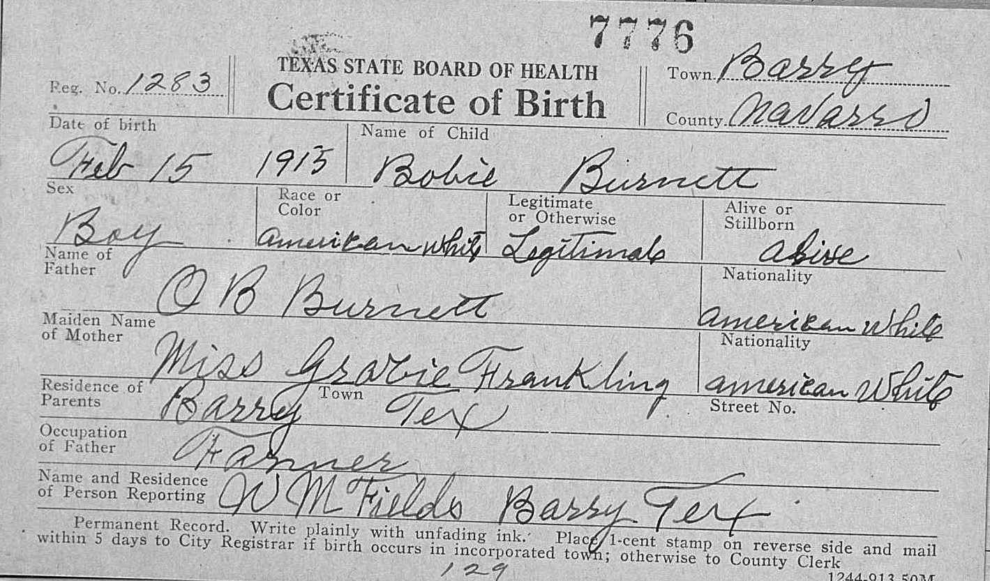 Index of franklingeneticsresearchoklahomawesleydalefranklin bobie burnett birth certificateg aiddatafo Gallery