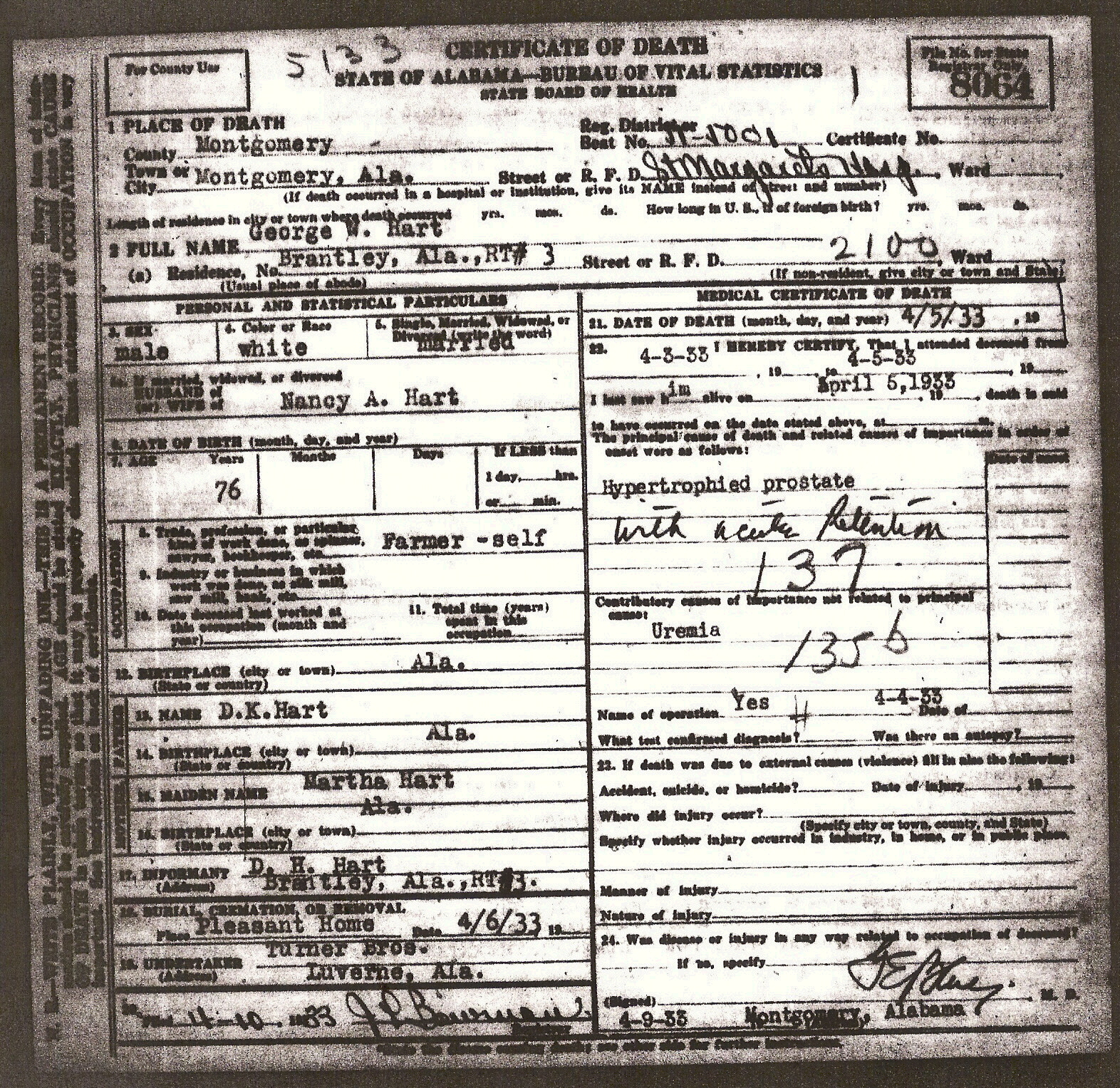 Tracking Your Roots Alabama Death Certificates Montgomery Co Al
